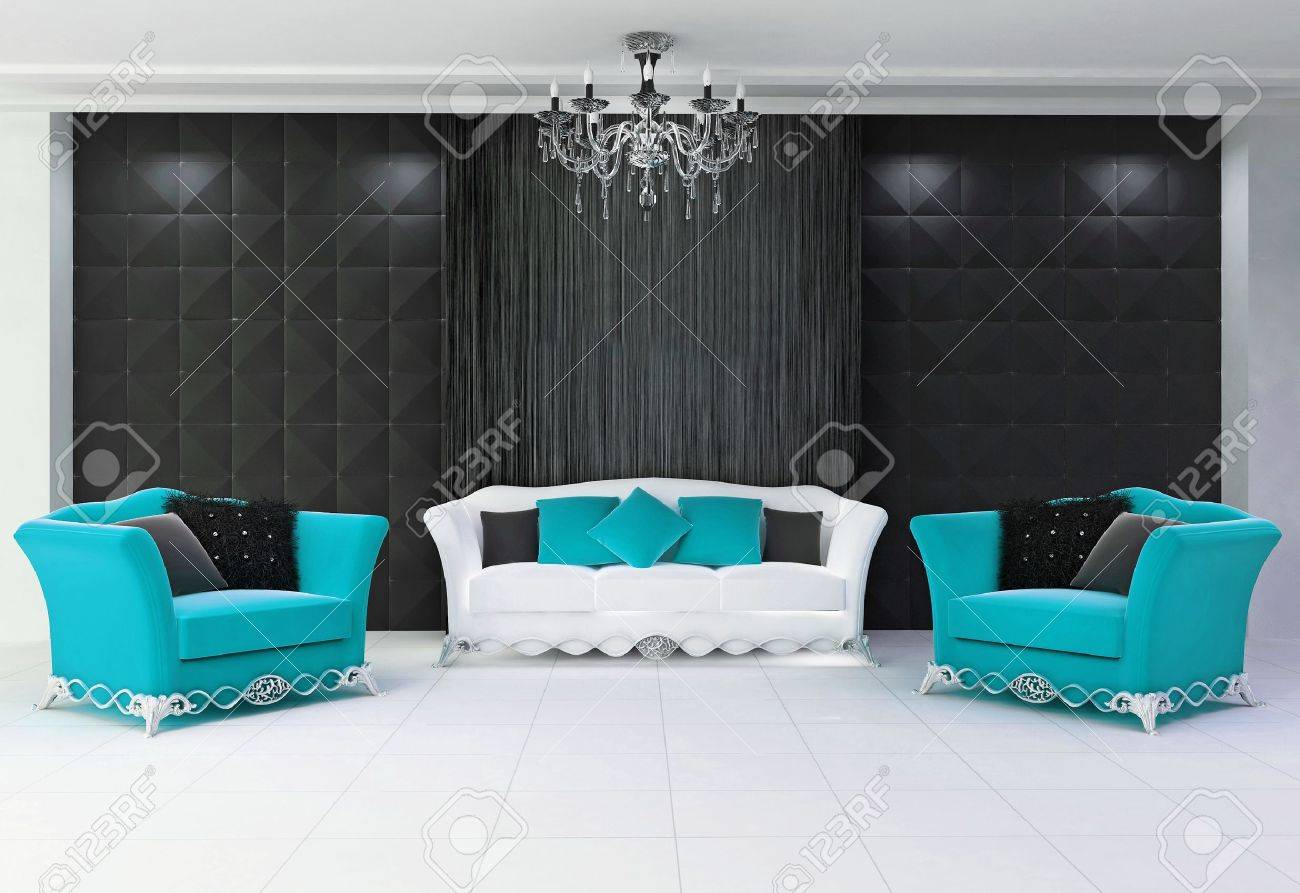 Aqua Blue Modern Interior With Furniture Two Armchairs And Comfort Stock Photo Picture And Royalty Free Image Image 10099621