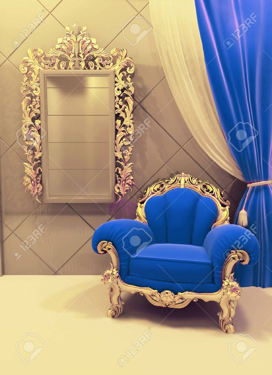 Royal  furniture in a luxurious interior, dark blue velvet, pattern Stock Photo - 10099630