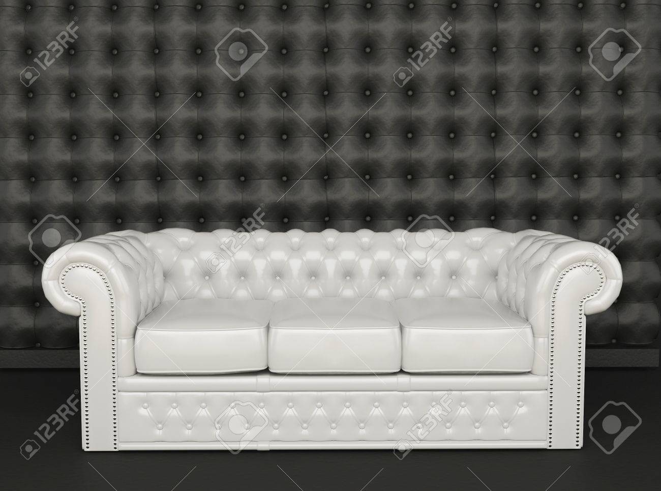 White Leather Sofa A Black Background Stock Picture And