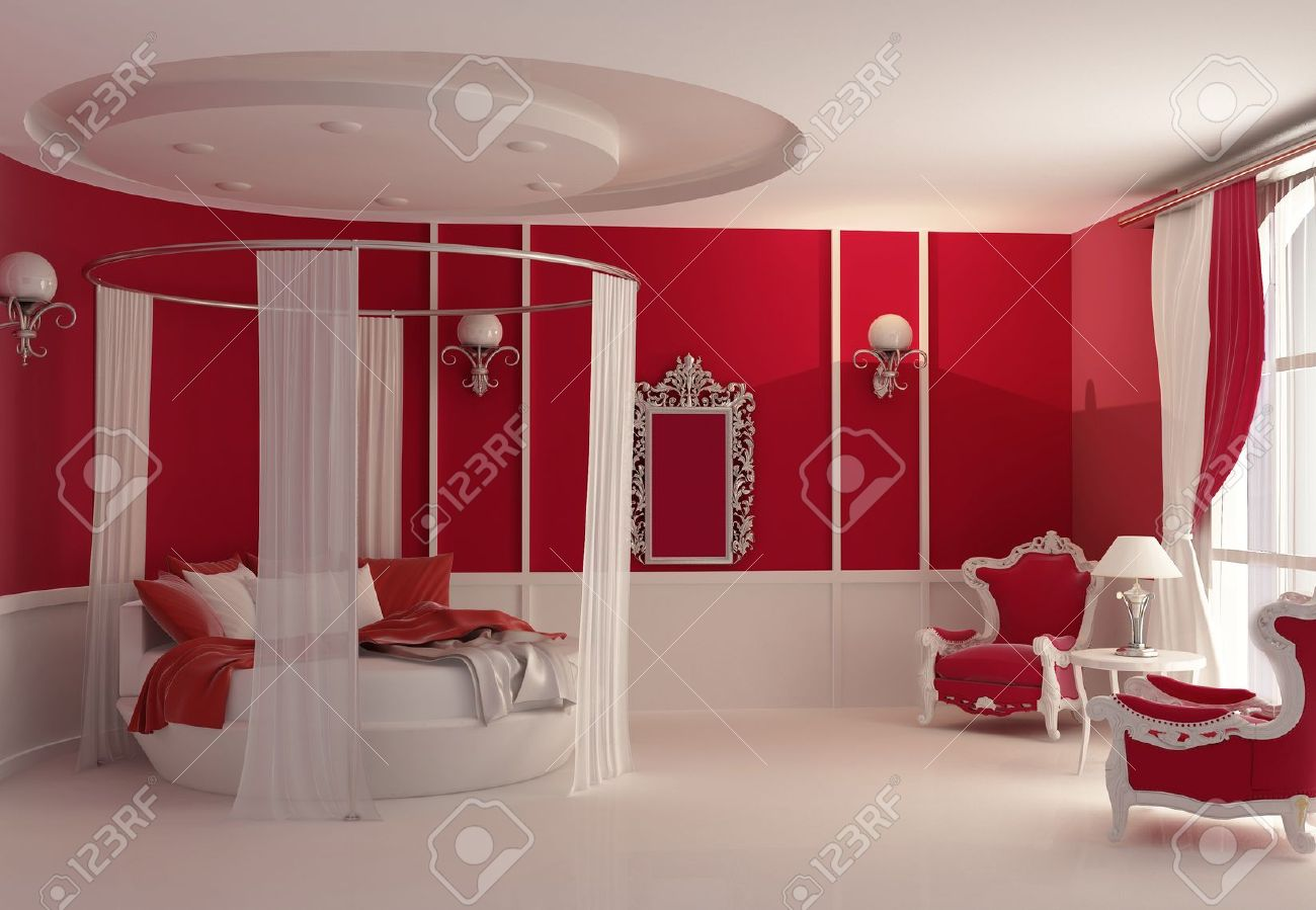 Red Luxury Bedrooms furniture in luxury bedroom stock photo, picture and royalty free