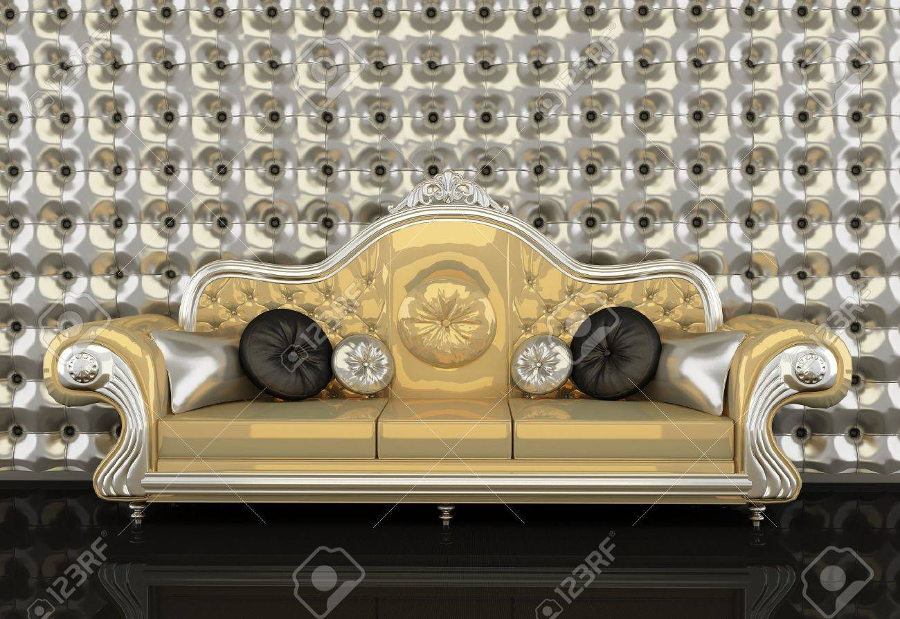 Golden Leather Sofa With A Silver Frame On Silver Background Stock Photo    10300764