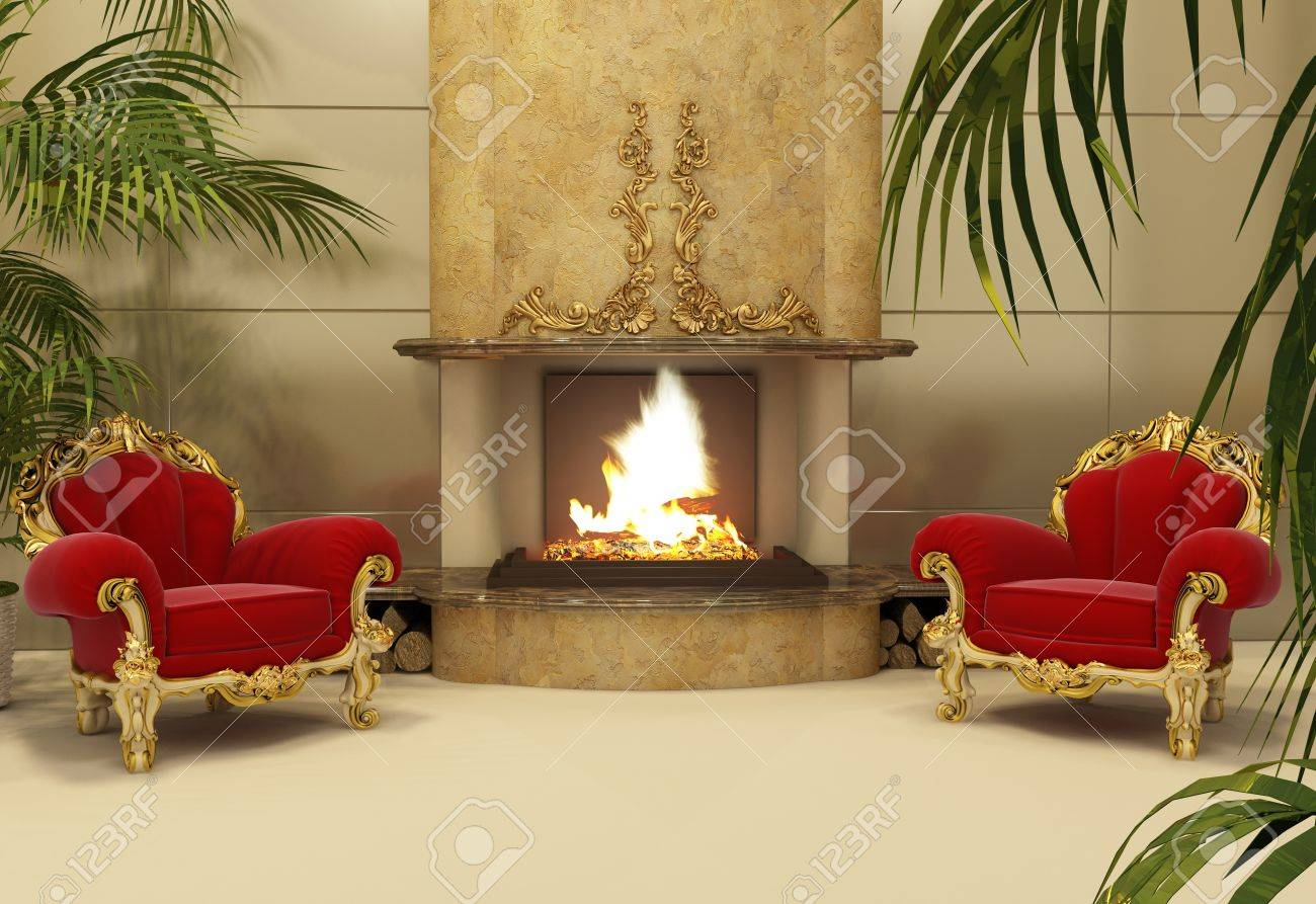 Baroque armchairs with fireplace in royal interior Stock Photo - 10300763