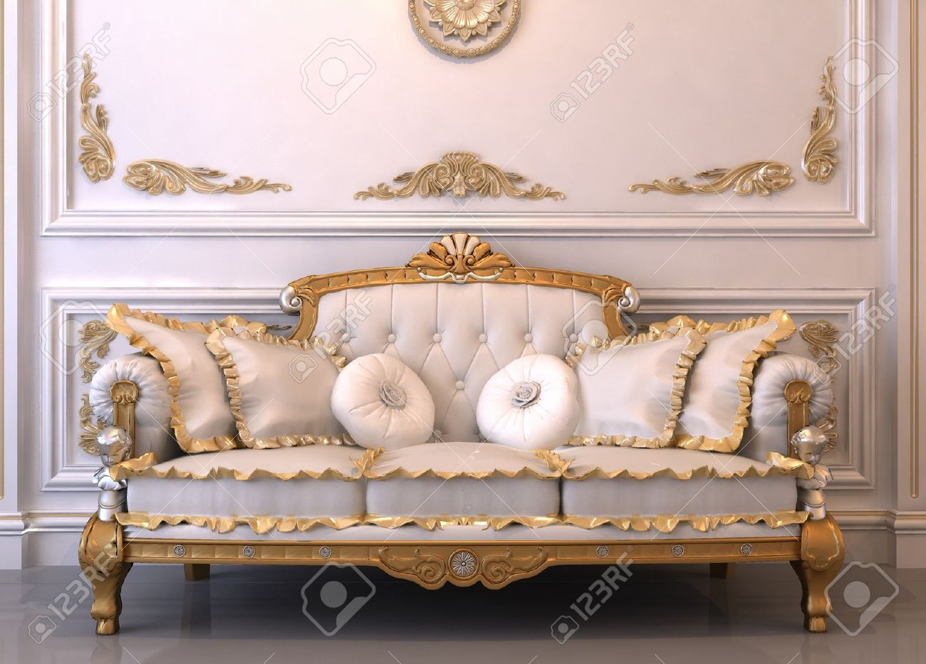 Luxurious Leather Sofa With Pillows In Royal Interior Stock Photo   10329768