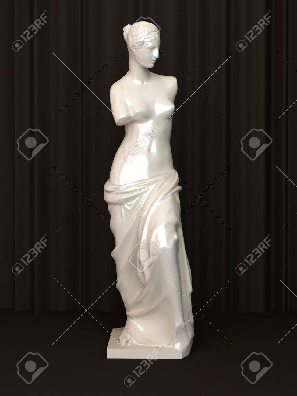 Antigua Estatua De Mármol De Una Venus Desnuda Sobre Fondo Oscuro