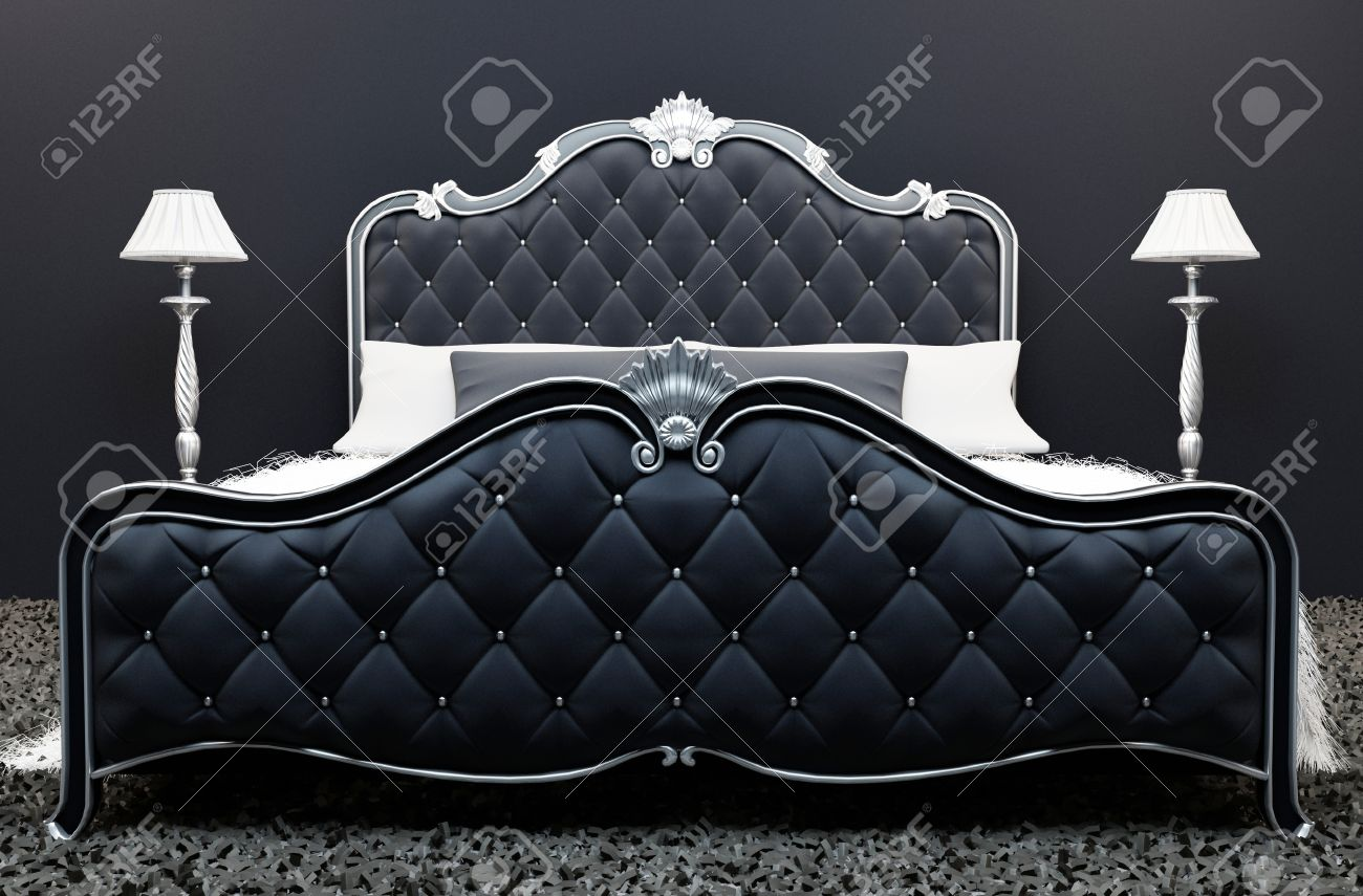 Luxe bed in de moderne slaapkamer interieur royalty vrije foto ...