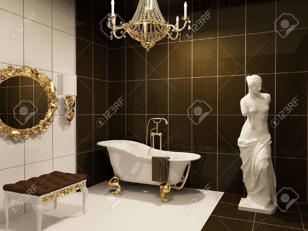 Luxurious furniture with statue of Venus in baroque bathroom - 10350709