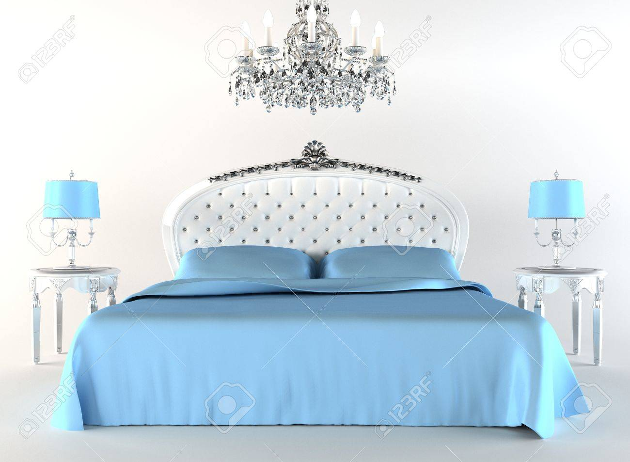 Modern bed with night lamps and chandelier. Flat Stock Photo - 10350742