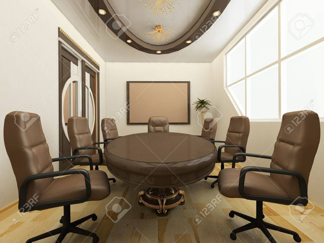 Desk with chairs in office interior. Workplace Stock Photo - 10468577