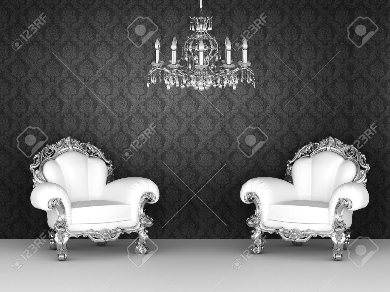 Luxurious armchairs in baroque interior. Ornament wallpapers. Stock Photo - 10468588