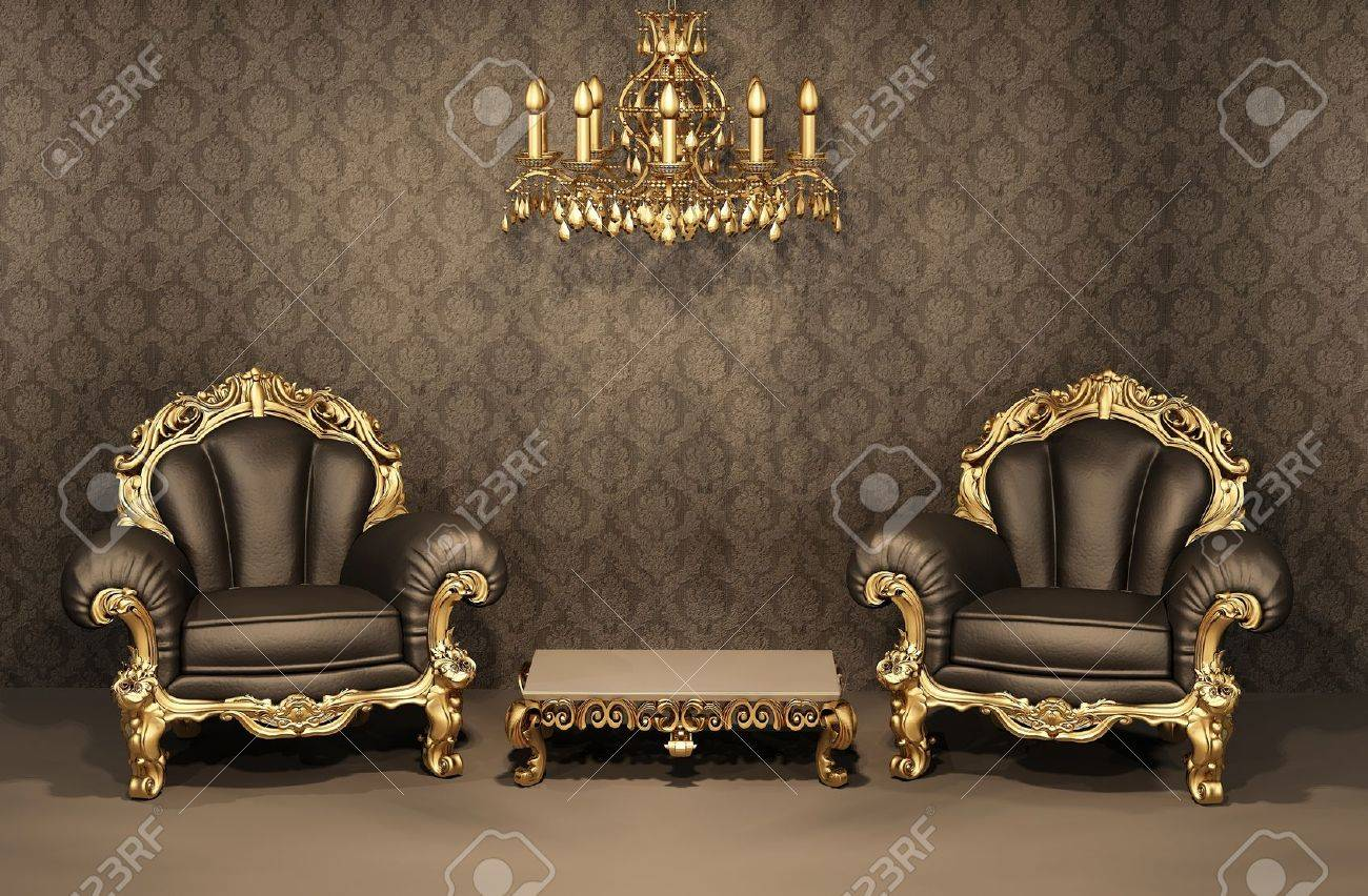 baroque armchairs with gold frame in old interior luxurious  - baroque armchairs with gold frame in old interior luxurious furnituredeluxe apartment stock photo
