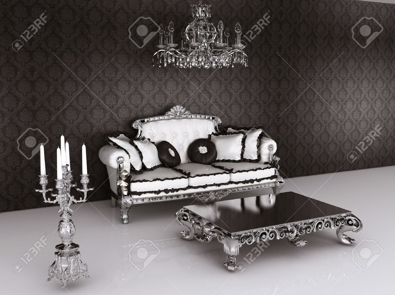 Royal Furniture In Baroque Interior. Sofa With Pillows And Table With  Candelabrum Stock Photo