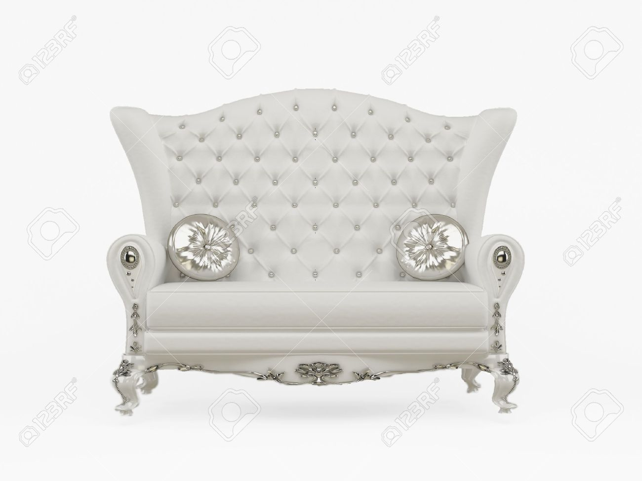 Modern sofa with decorative pillows isolated on white background