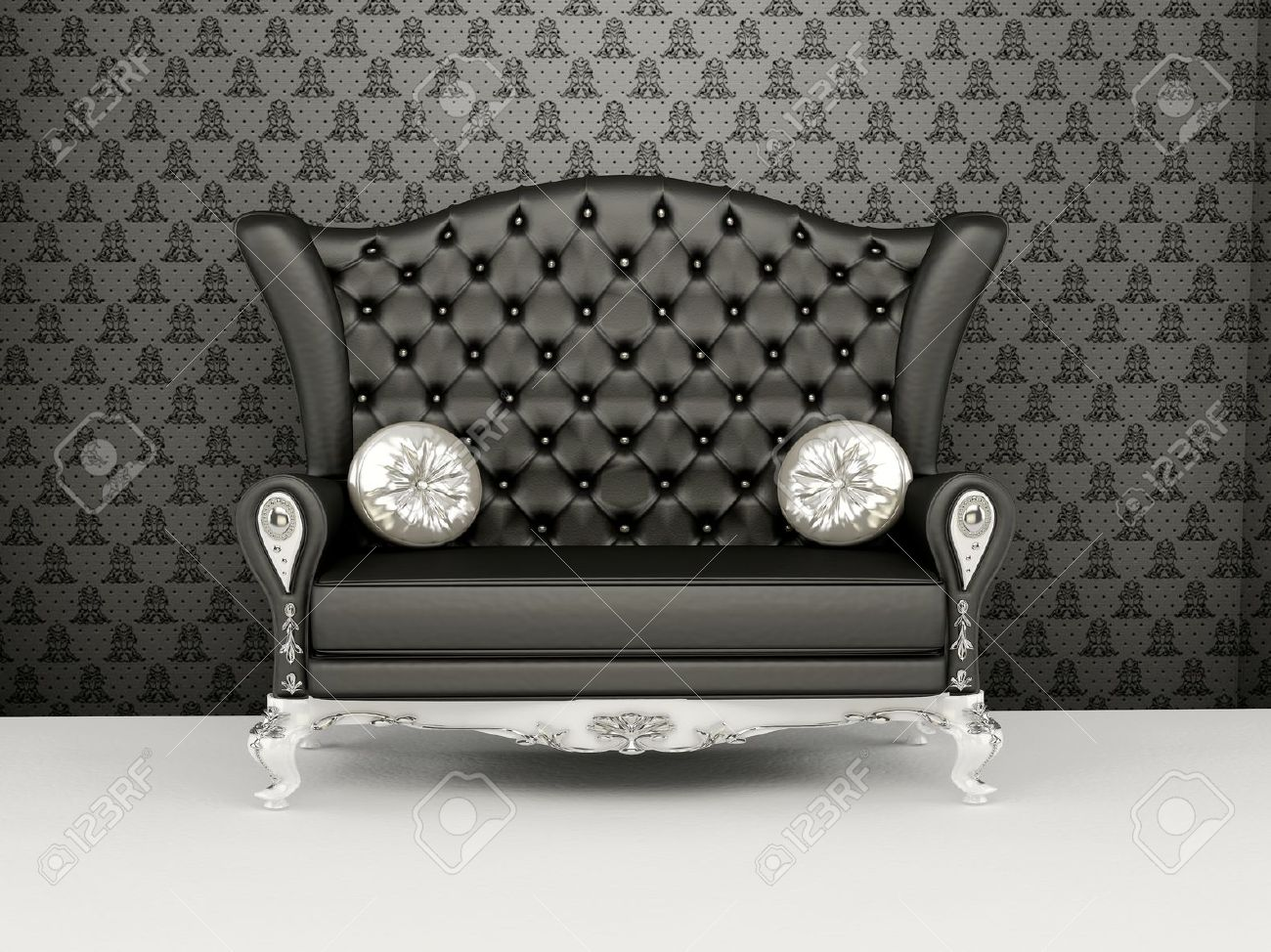 Sofa With Higher Back Before The Wallpaper Interior Exhibition