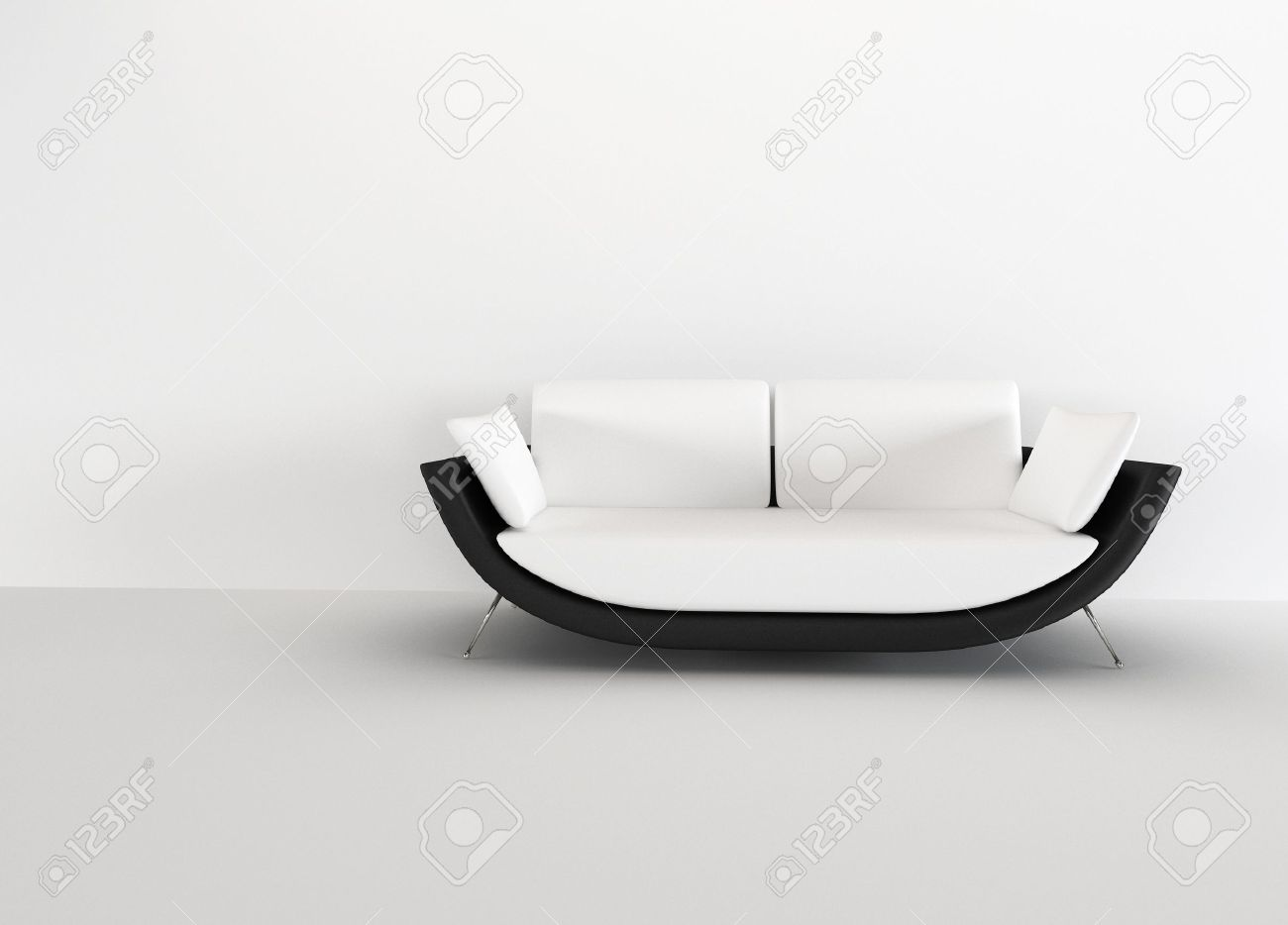 Modern Sofa In A Bright Empty Living Room