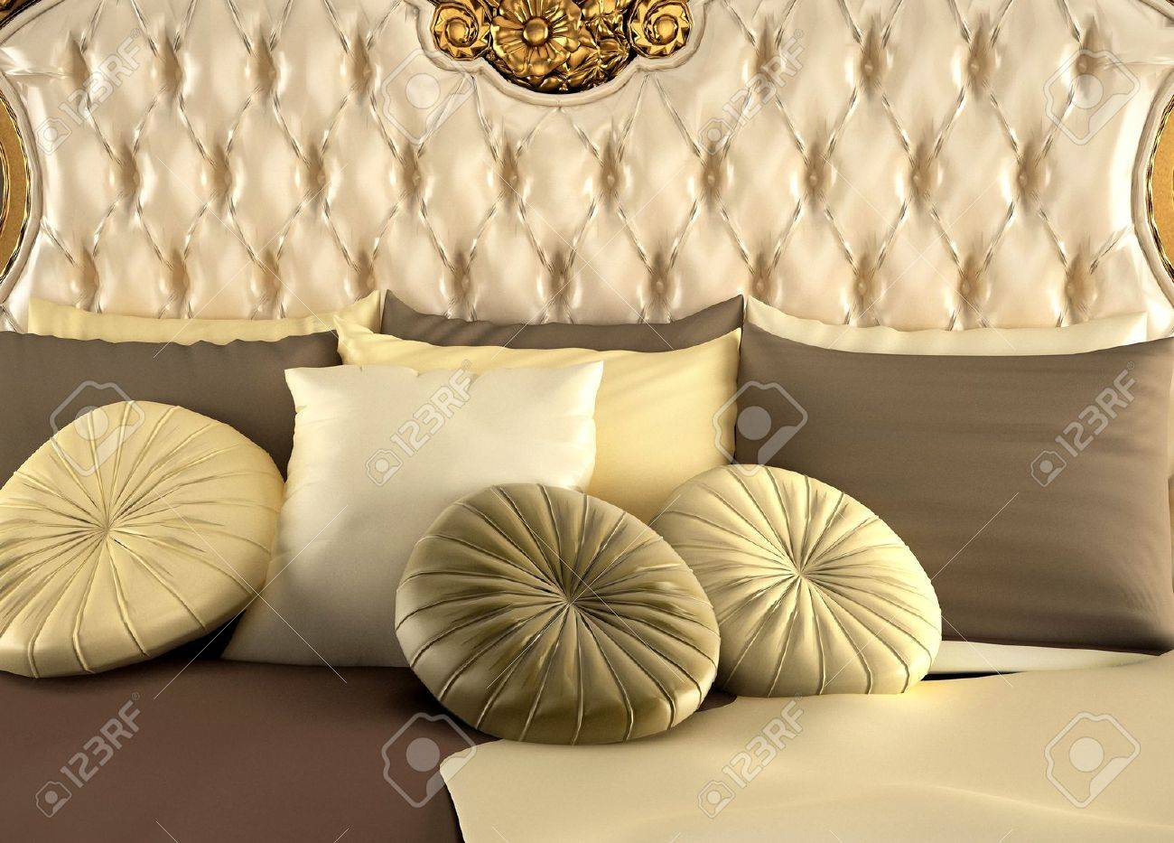 Deluxe back of bed and pillows. Royal and luxurious bedroom Stock Photo - 10511897