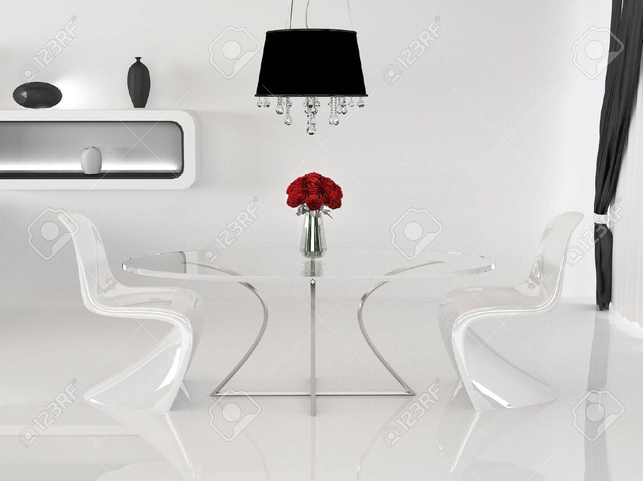 Two chairs and table with vase in minimalism interior space two chairs and table with vase in minimalism interior space curve furniture stock photo reviewsmspy