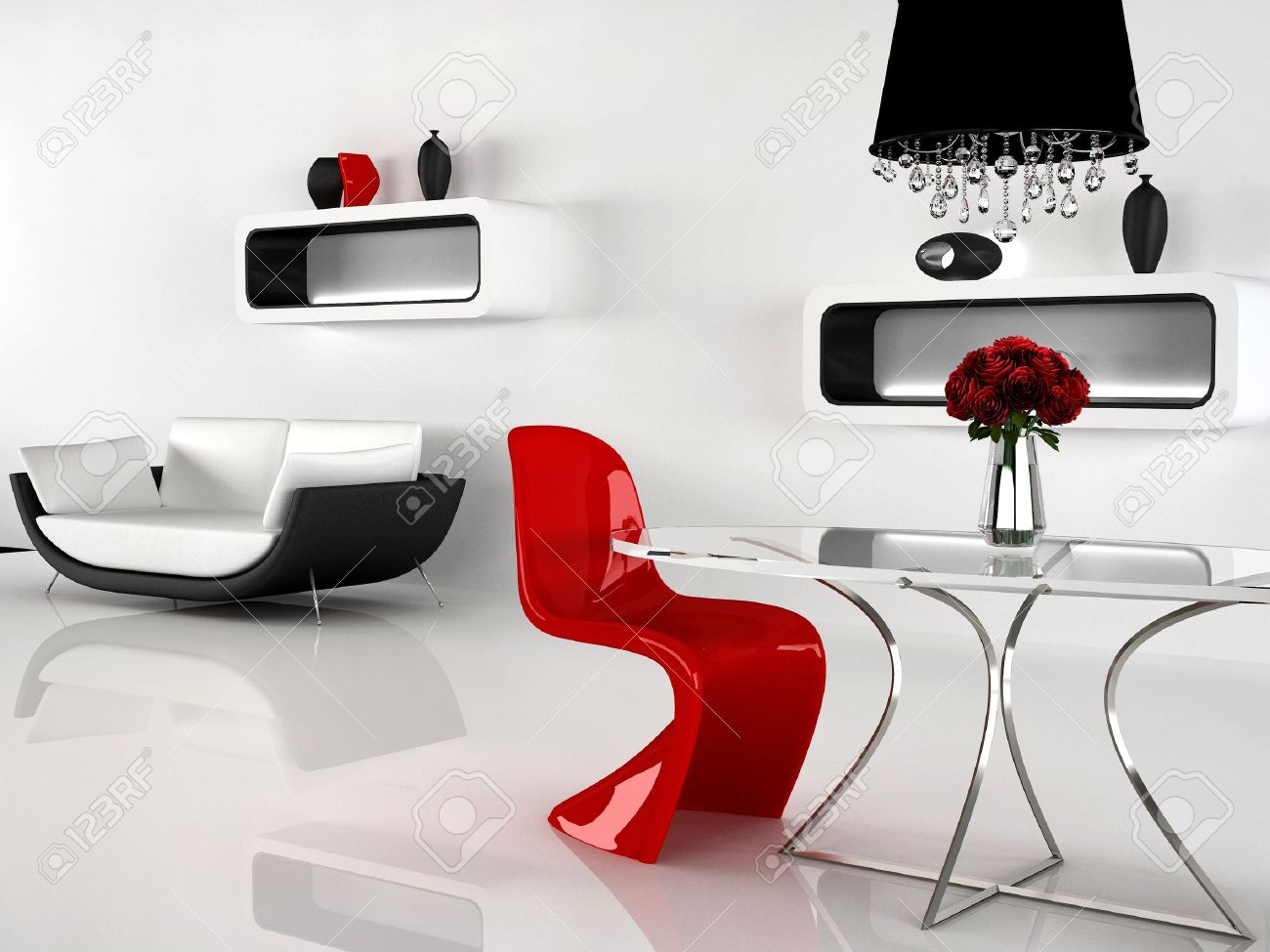 Minimalism And Baroque Furniture In Interior. Modern Sofa, Red Chair,  Table, Chandelier