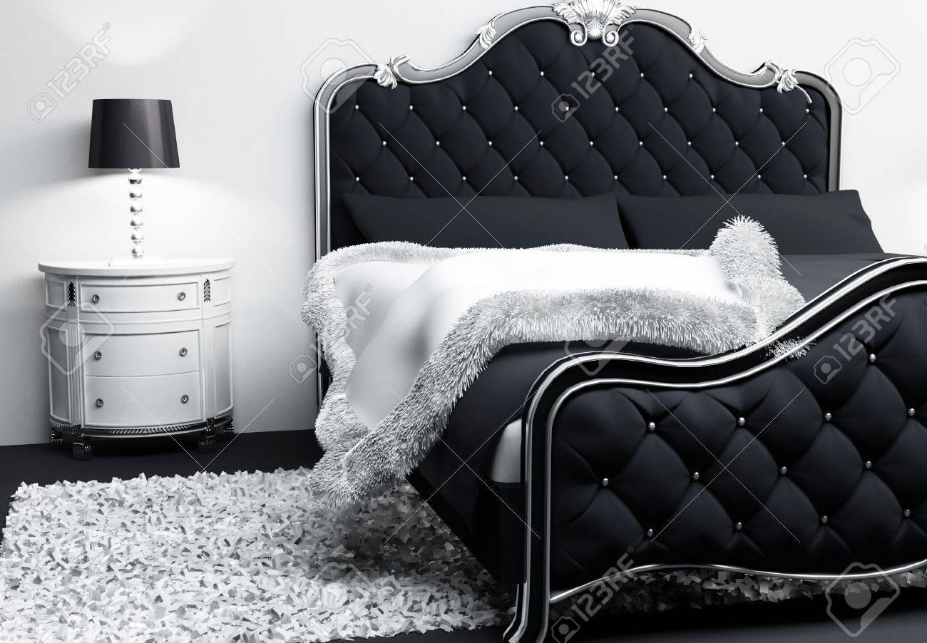 Mobilier de luxe à l'intérieur chambre à coucher. lit moderne avec ...