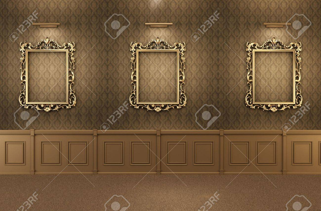 Luxurious Gallery Interior with empty frames on wall. Wooden Stock Photo - 10511937