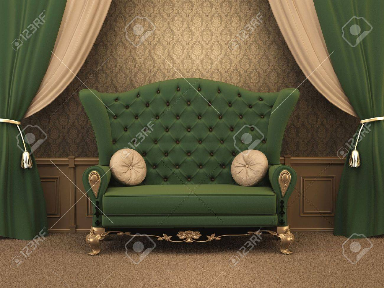 Textured Sofa with pillows and curtain drapery in luxurious apartment. Luxe.  old styled interior. Stock Photo - 10523445