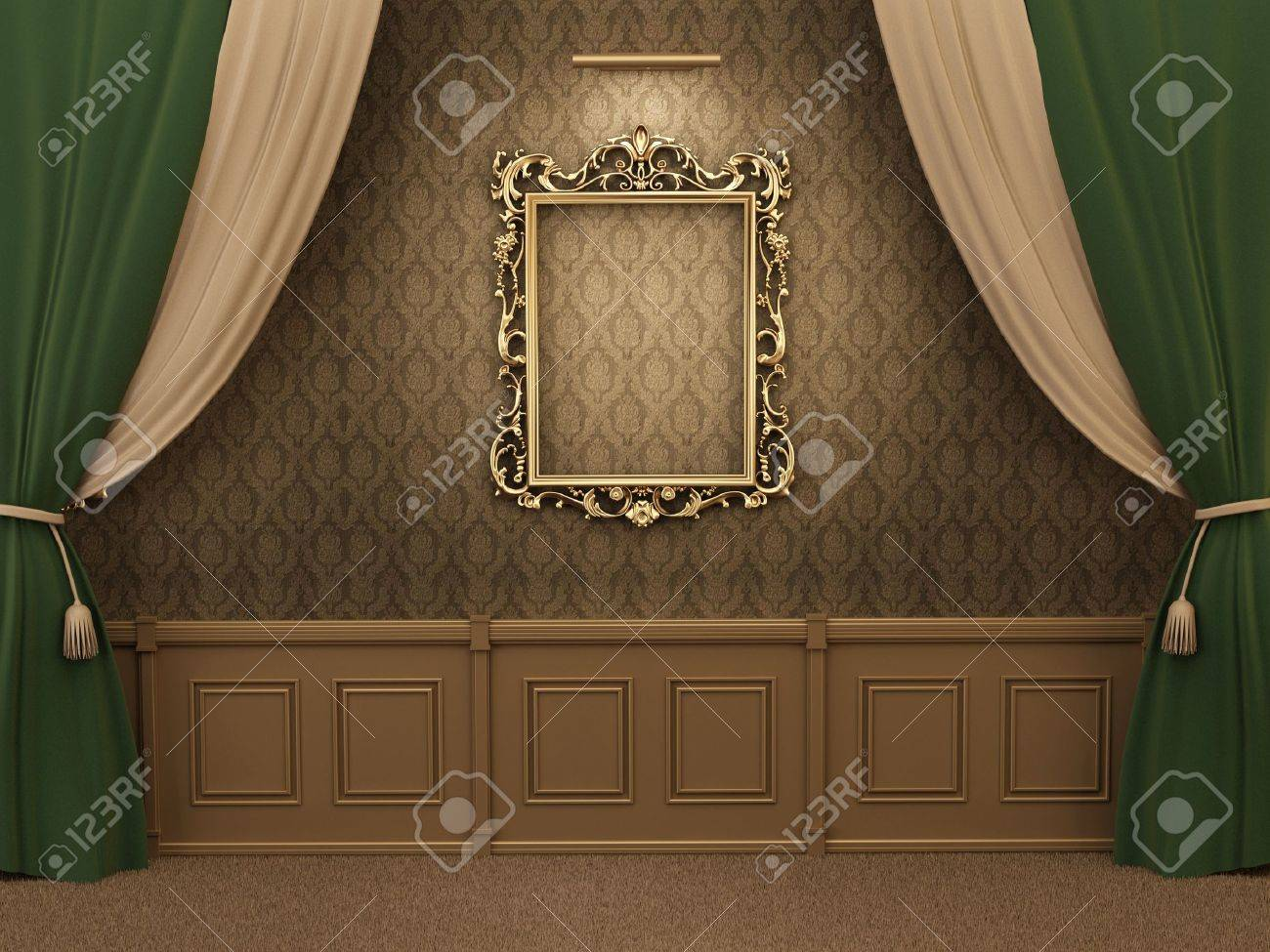 Gallery Interior with empty frame on wall with curtain. Stock Photo - 10523442
