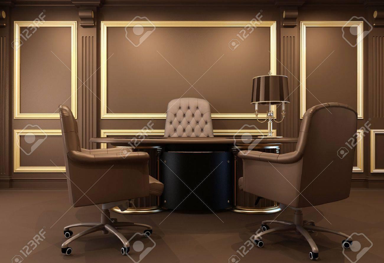 Intérieur de bureau classique et moderne. En milieu de travail. Table  luxueux. Appartement ancien