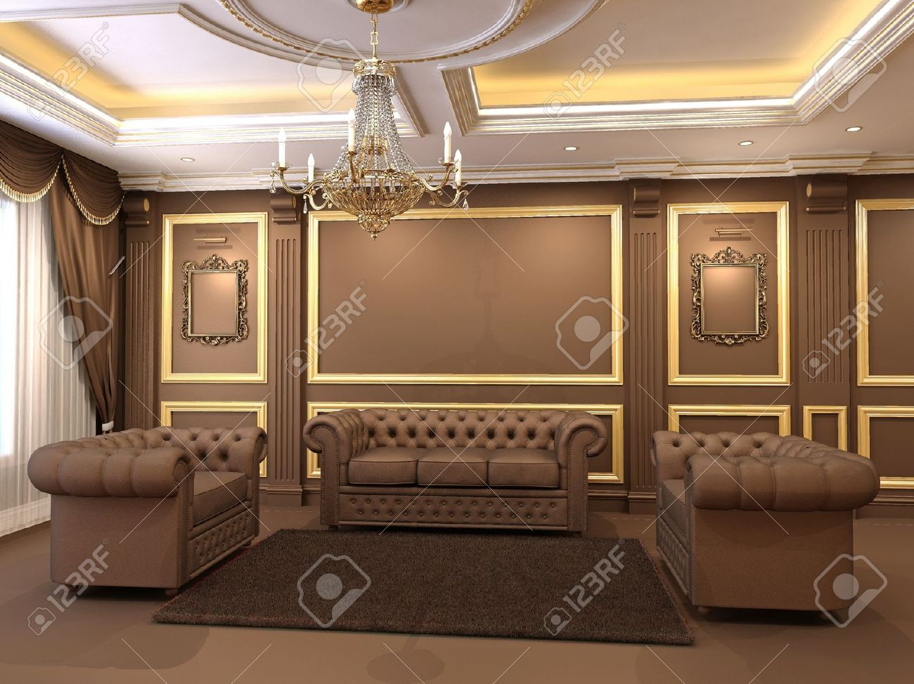 Luxe De Oro Decorativo Y Moderno Sof Con Sillones Chesterfield  ~ Techos Decorativos Para Interiores