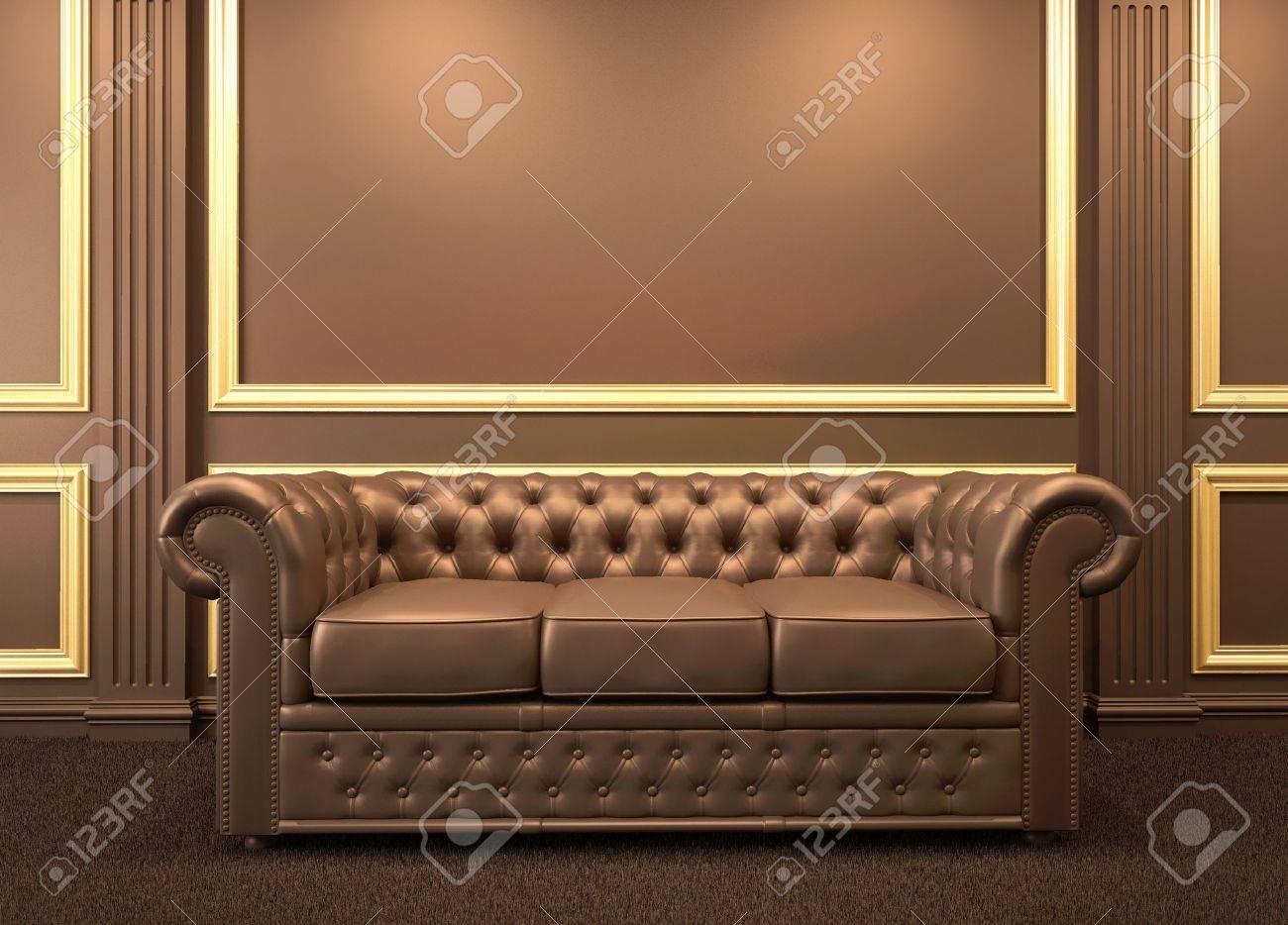 banque dimages chesterfield canap moderne lintrieur en bois avec cadre en or