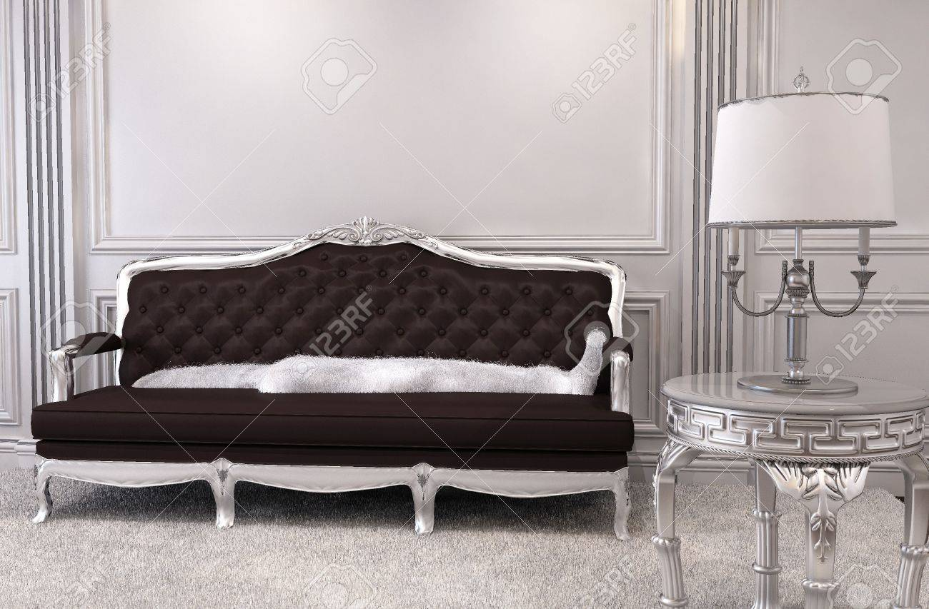 Luxurious sofa in modern interior. Luxe. Furniture in royal apartment. Hall. Relaxation room Stock Photo - 10523434