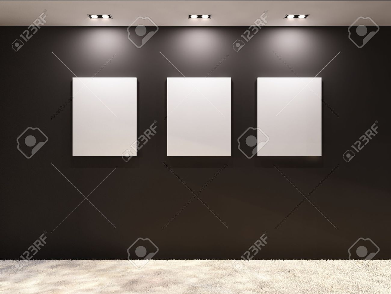 gallery empty frames on a black wall in interior stock photo  - empty frames on a black wall in interior stock photo