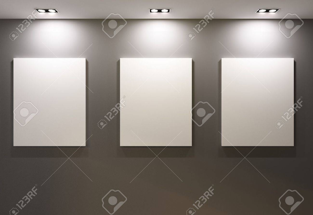 Empty Frames On Grey Wall In Gallary Of Museum Interior Stock Photo ...