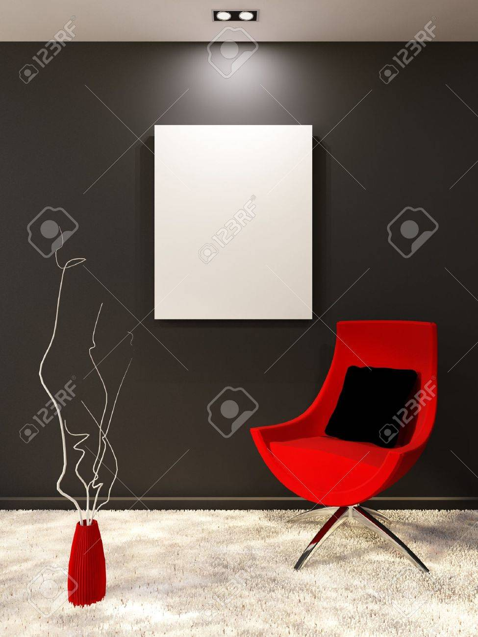 Red armchair with pillow and white blank on the black wall in minimalism interior. Living room Stock Photo - 10523429