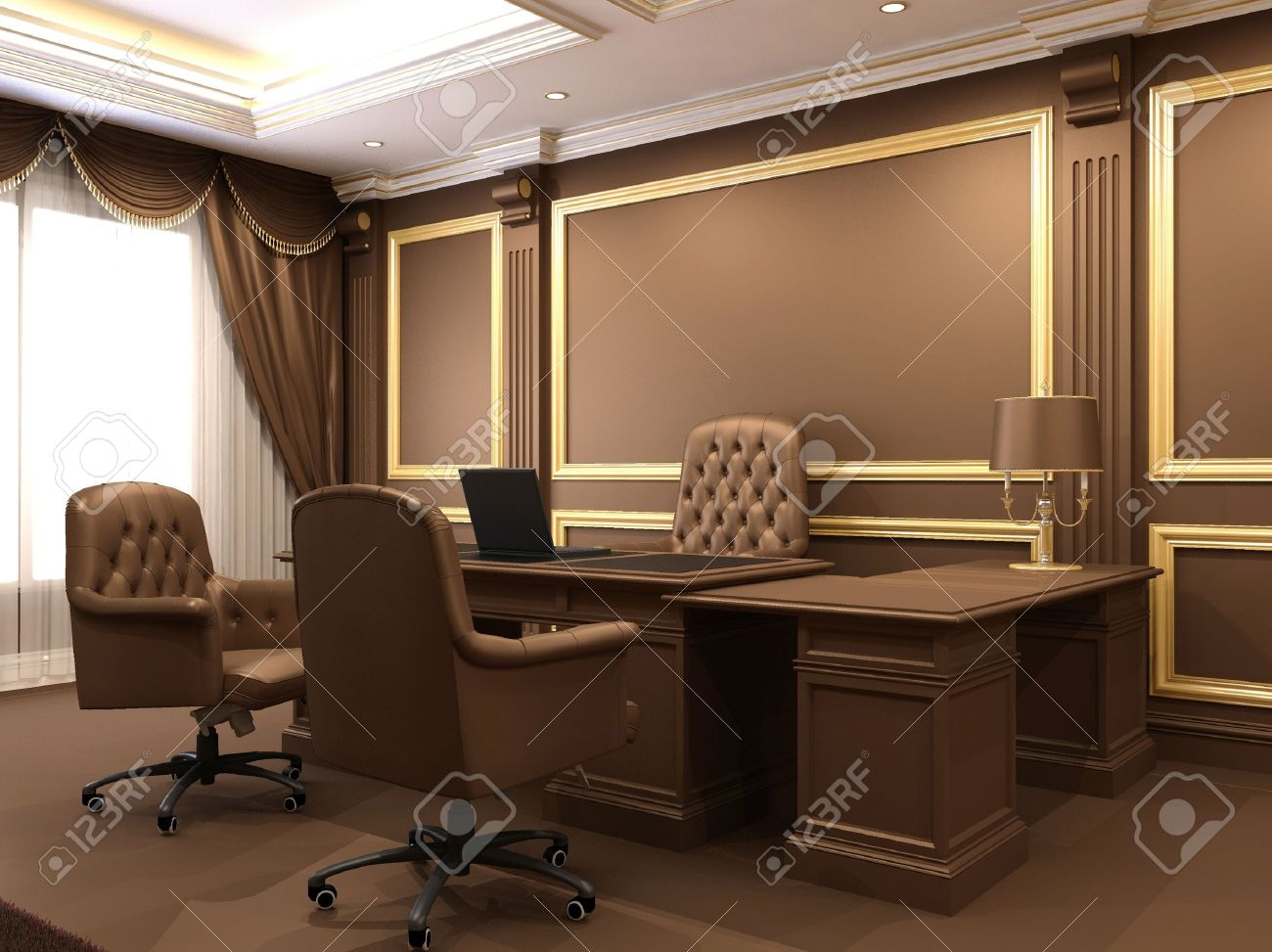 modern interior office stock. modern interior office space wooden furniture in luxurious apartment business table with armchairs stock
