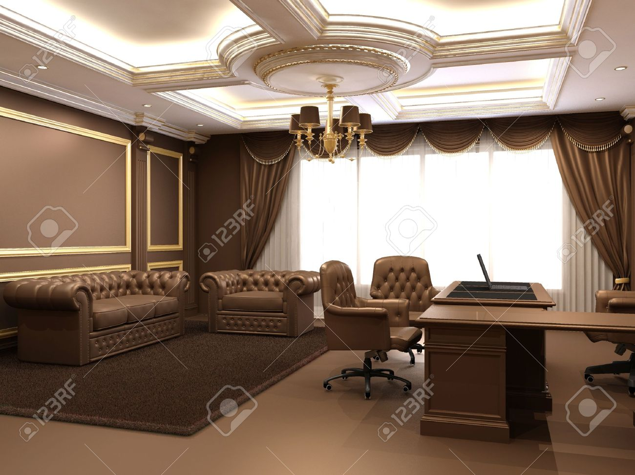 Modern Office In Wooden Royal Interior Space Stock Photo, Picture