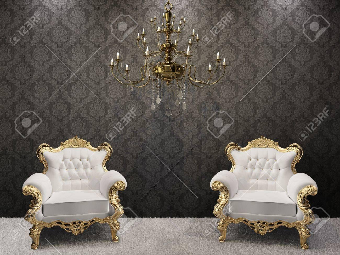 Kronleuchter Barock Schwarz ~ Goldene kronleuchter mit luxuriösen sesseln auf schwarz ornament