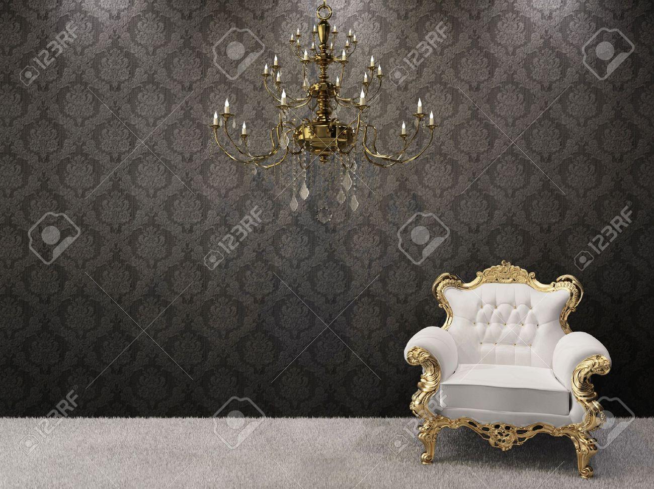 Royal Interno. Lampadario Dorato Con Lussuosa Poltrona Su Sfondo ...