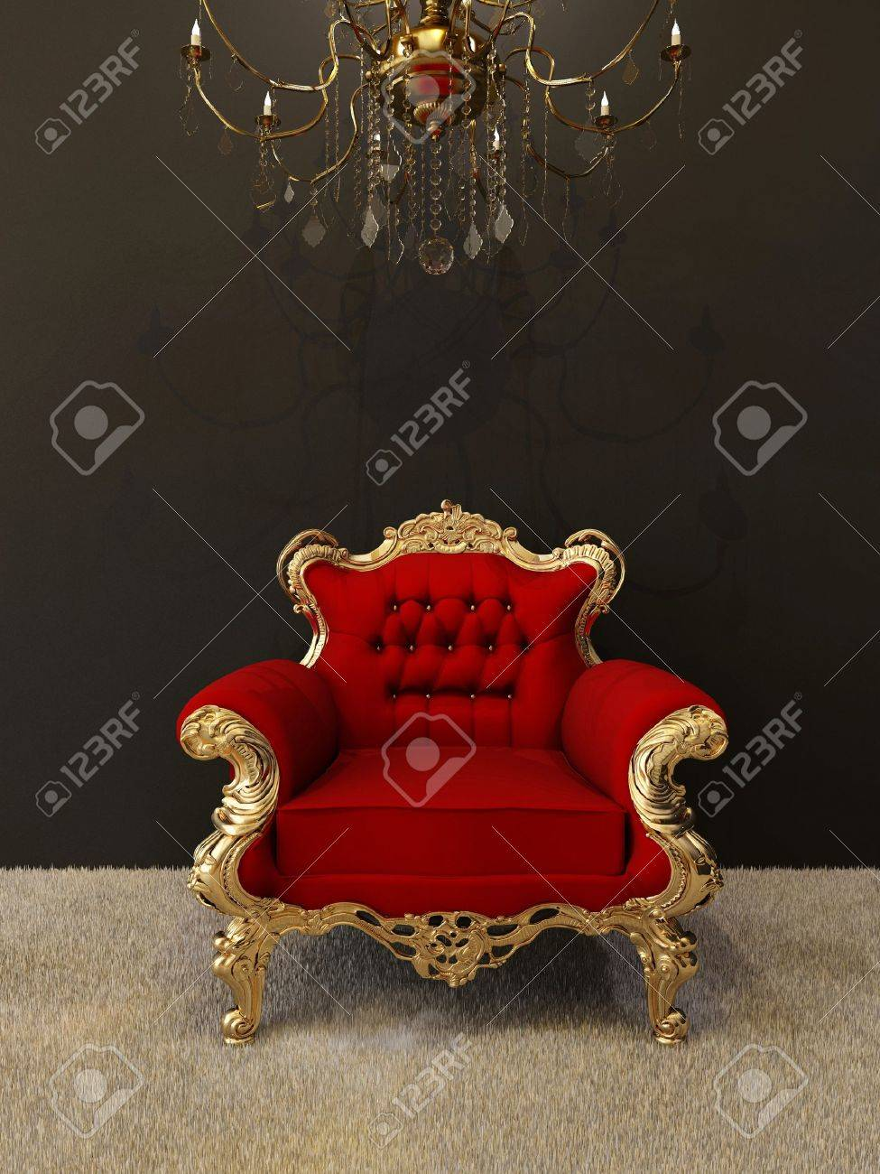 Luxury armchair with golden frames and royal chandelier in interior Stock Photo - 10523440