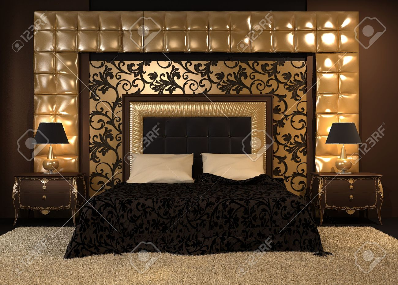 Double bed furniture design - Front Perspective Of Luxutiois Double Bed At Royal Apartment Modern Interior At The Hotel
