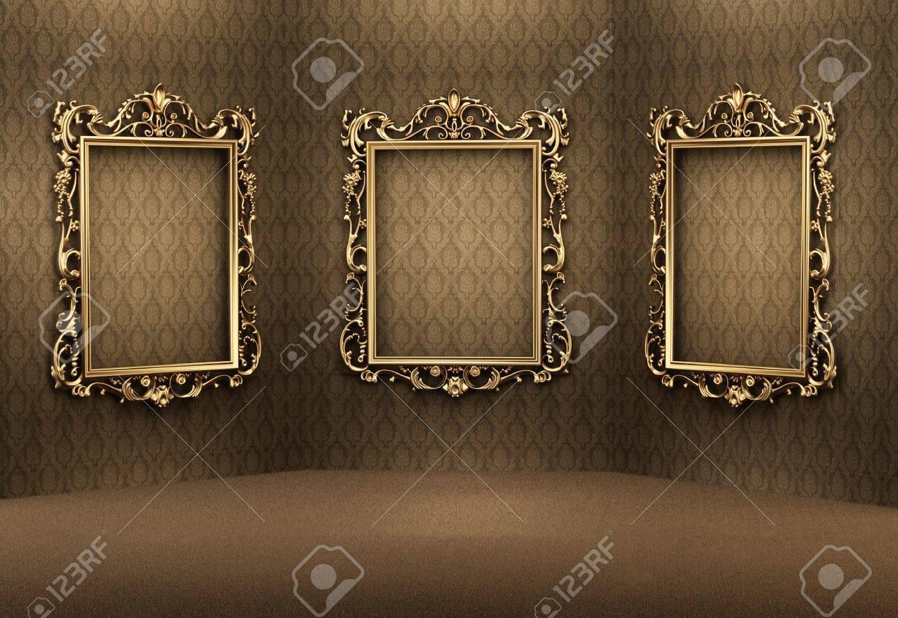 Marcos Oro Vacíos En La Pared Interior De Lujo. Apartamento Real ...