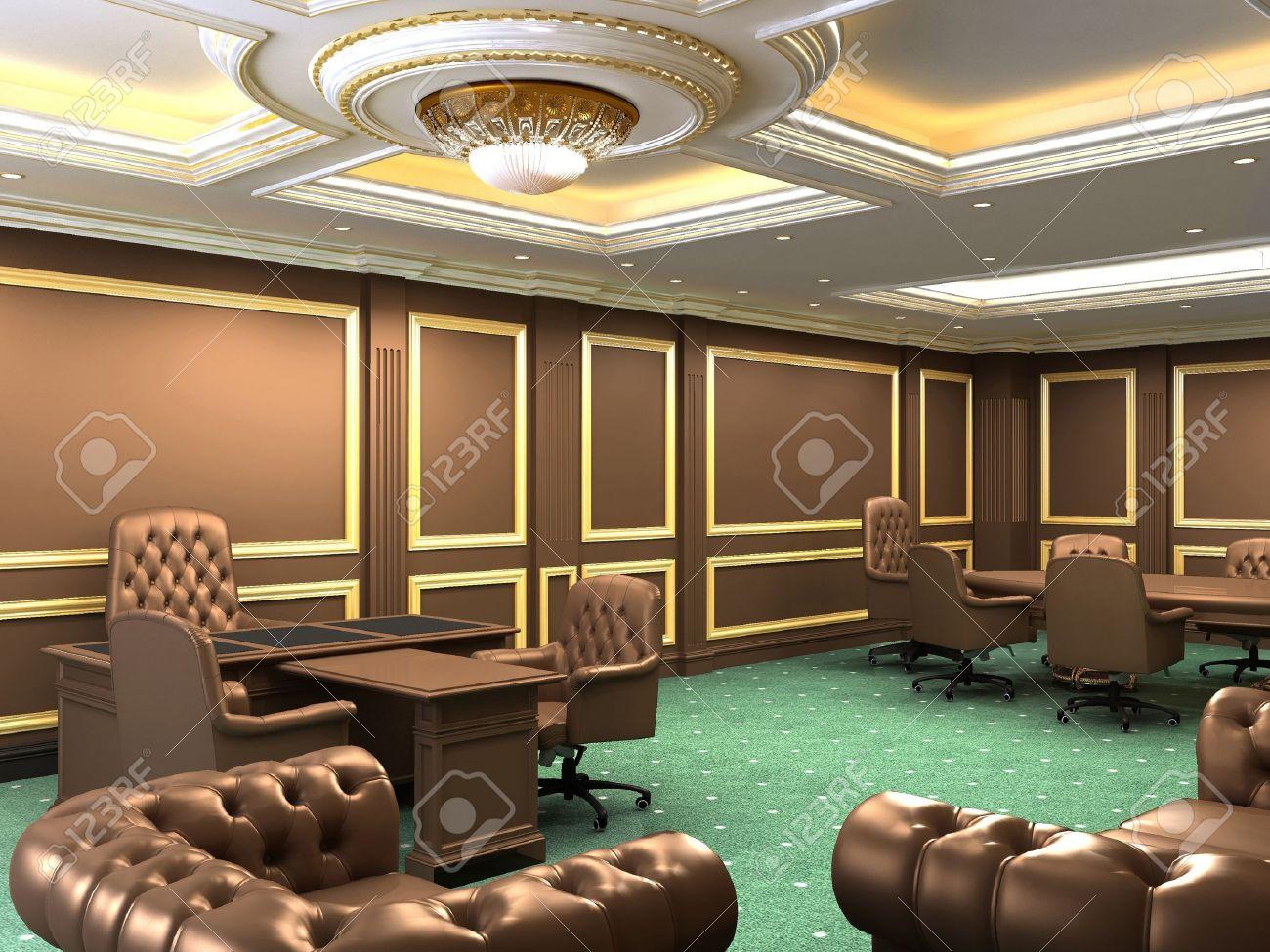 Espace de bureau intérieur appartement royal avec des meubles de
