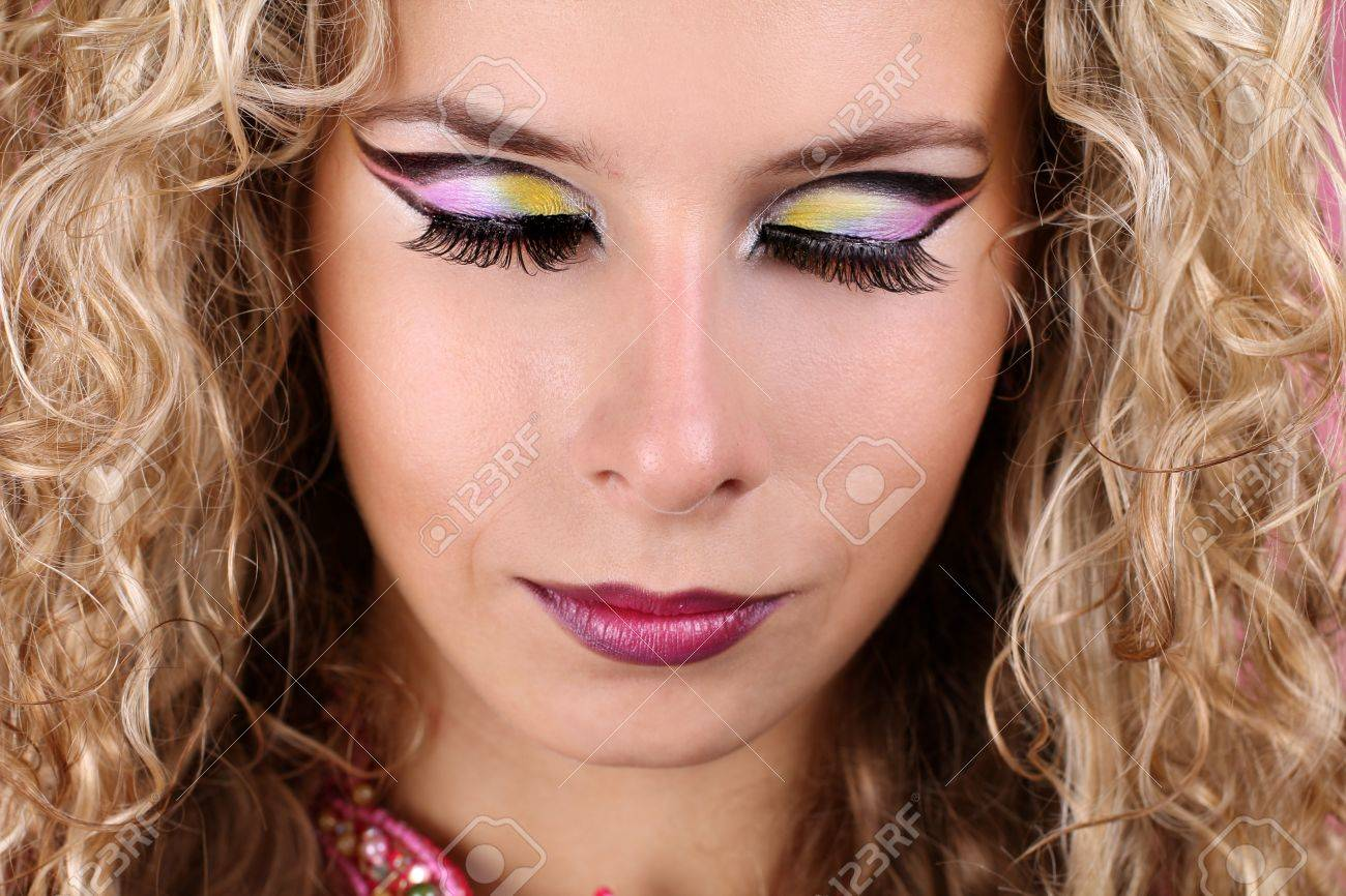 woman with makeup  shadow-eyes and blonde curly hair Stock Photo - 11219375