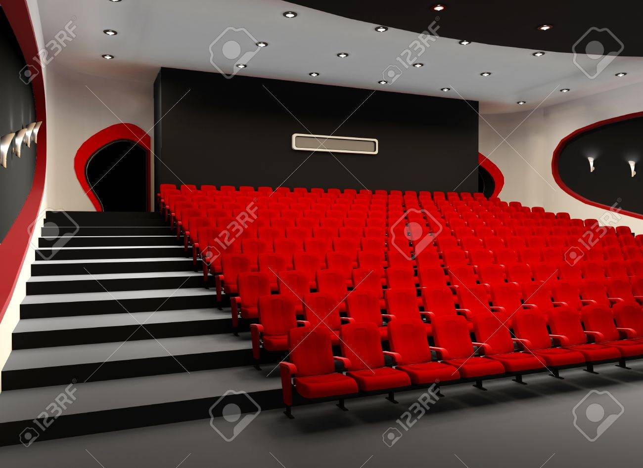 Desolate red cinema hall with comfortable velvet armchairs Stock Photo - 11405384