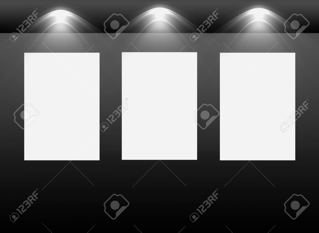 Gallery Interior with empty frames on wall Stock Photo - 12692809