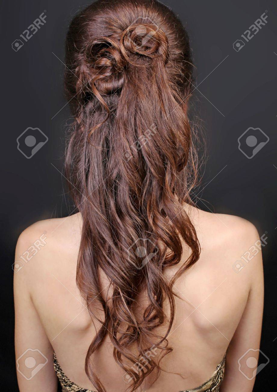 Brown Curly Hair  Beautiful Woman with Healthy Long Hair Stock Photo - 12631844