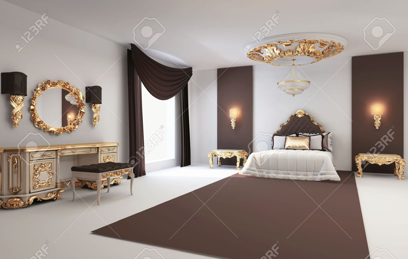 Baroque Bedroom With Golden Furniture In Royal Interior Residence ...
