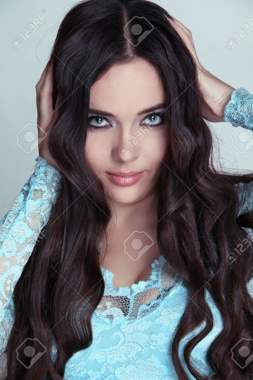 Beautiful Brunette Girl Healthy Long Curly Hair Lady In Blue