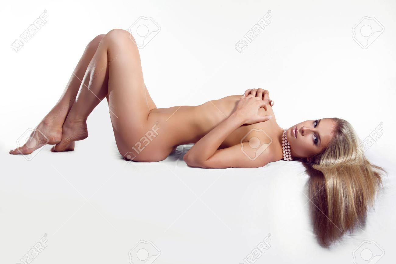 Beautiful female woman with nude body on white background Stock Photo - 16961946