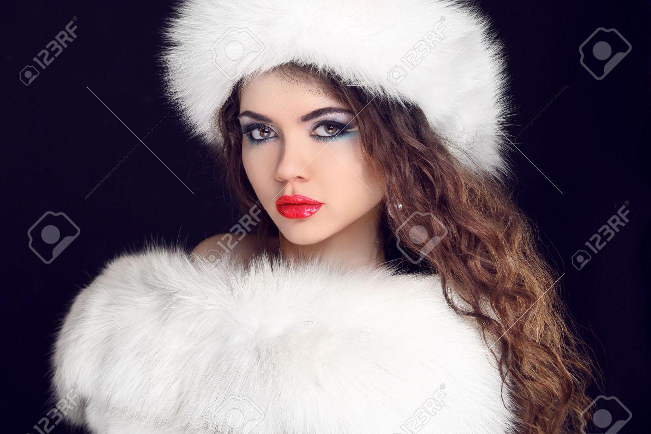 Beautiful Girl Wearing In White Fur Coat And Furry Hat Winter