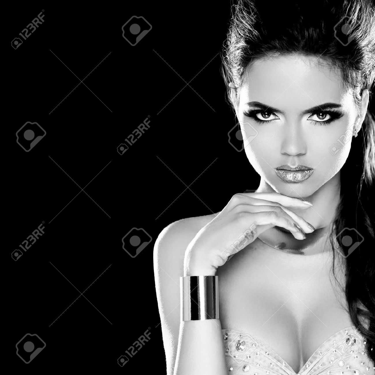 Stock photo vogue style glamour lady fashion beauty girl gorgeous woman portrait black and white photo