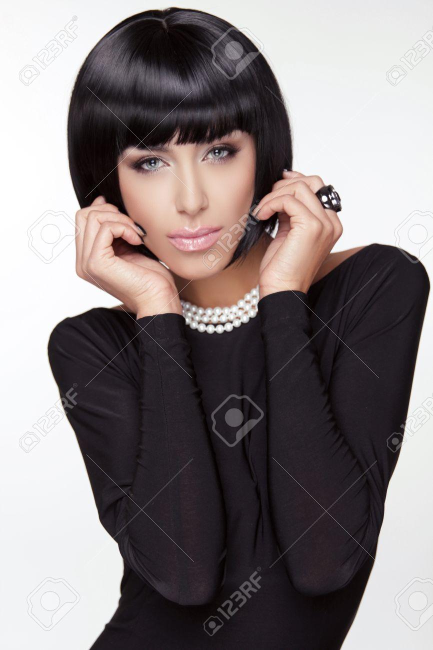 Vogue Style Fashion Beauty Woman Brunette Lady With Black Short